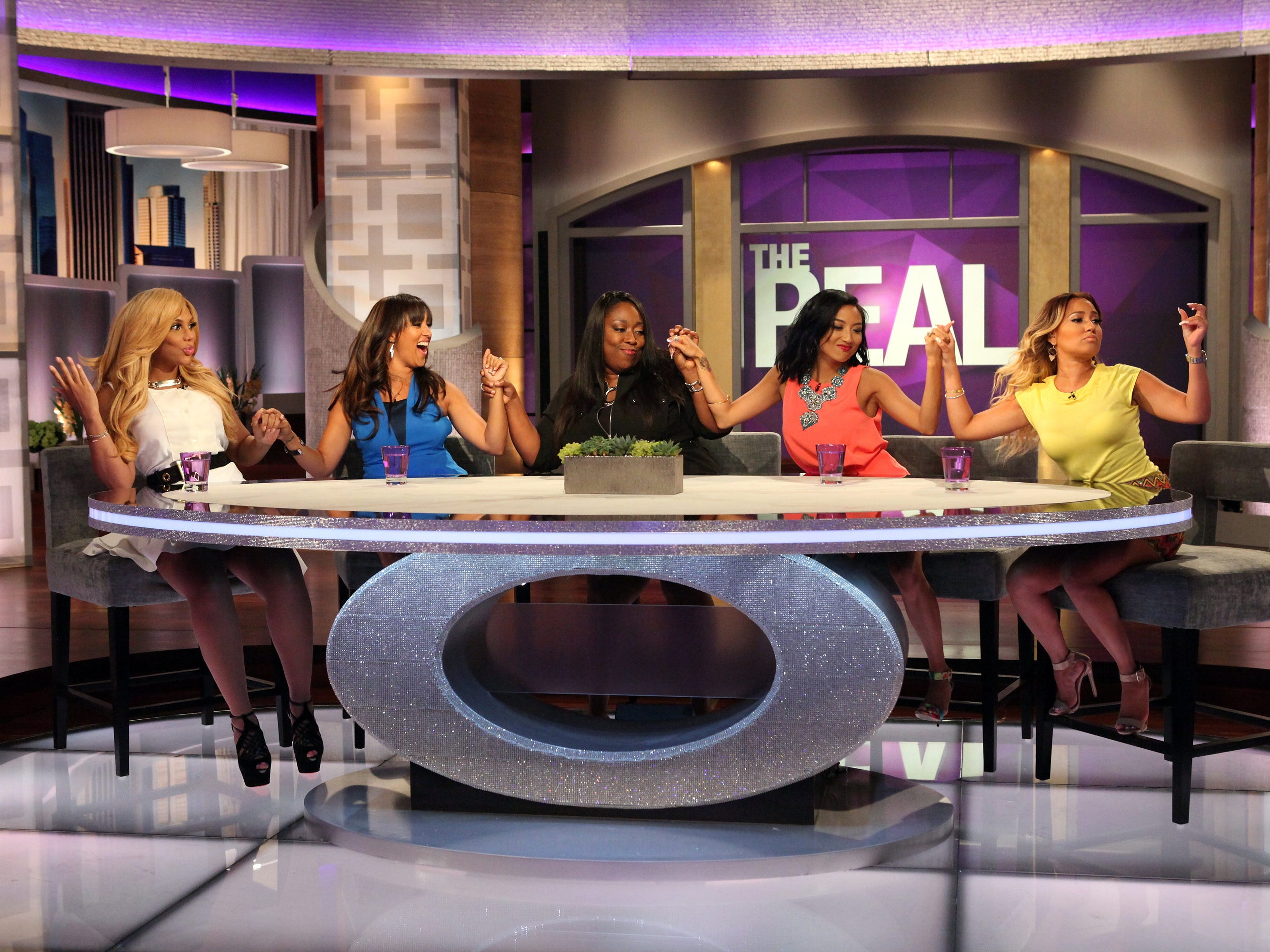 "Hosts of the TV talk show ""The Real"" Tamar Braxton, left, Tamera Mowry-Housley, Loni Love, Jeannie Mai and Adrienne Bailon. CREDIT: Michael Rozman, Warner Bros. [Via MerlinFTP Drop]"