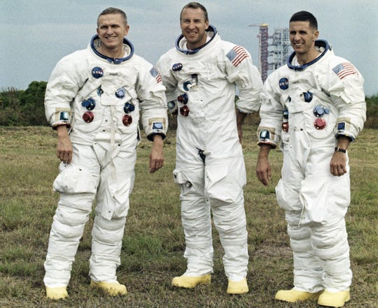 Frank Borman, left, William A. Anders and James A. Lovell Jr. were the astronauts aboard Apollo 8.
