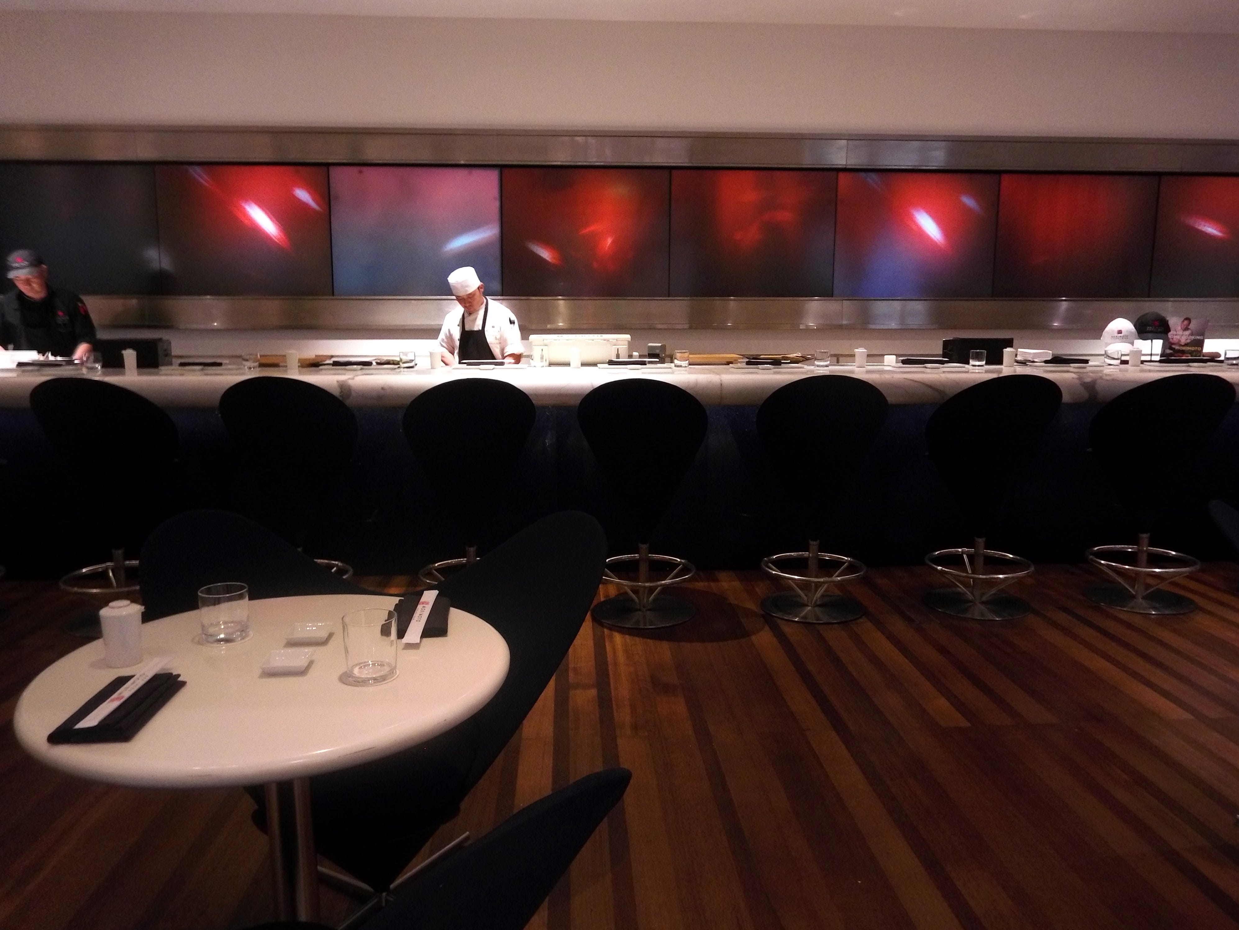 A chef prepares for the evening at Morimoto's Sushi Bar, which opened in Boca Raton Resort & Club in 2007.