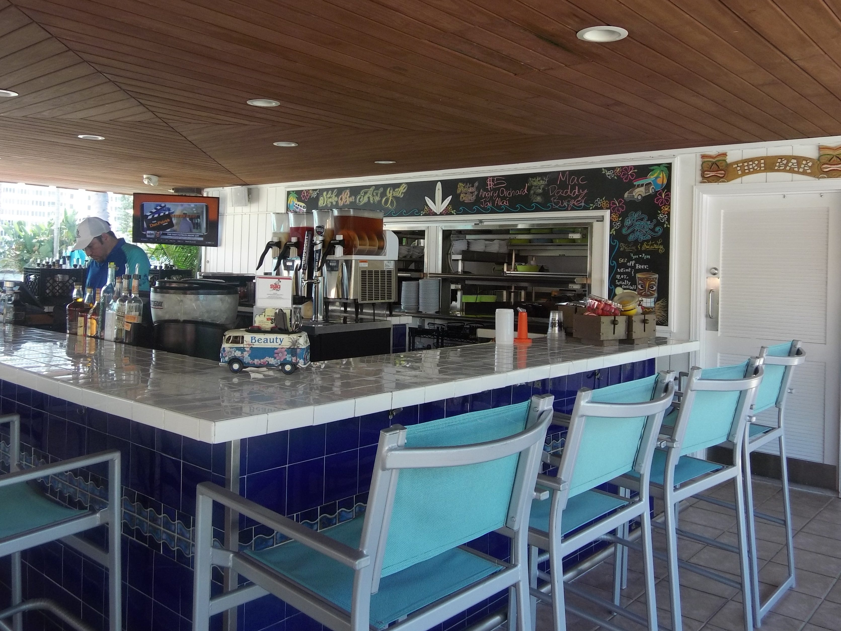 Poolside Shaka Bar & Grill serves lunch and early dinner at Boca Raton Resort & Club.