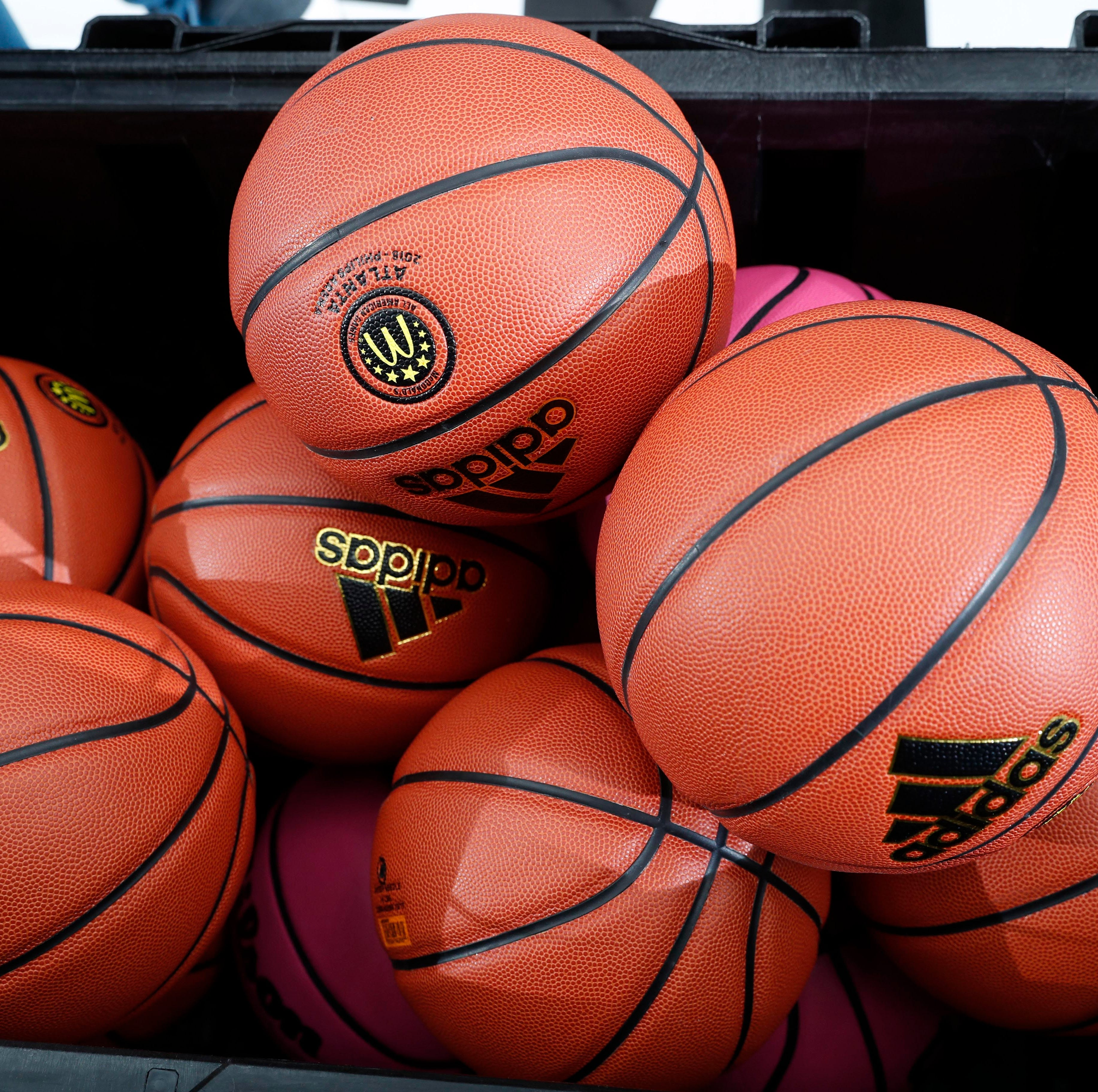 A general view of basketballs.