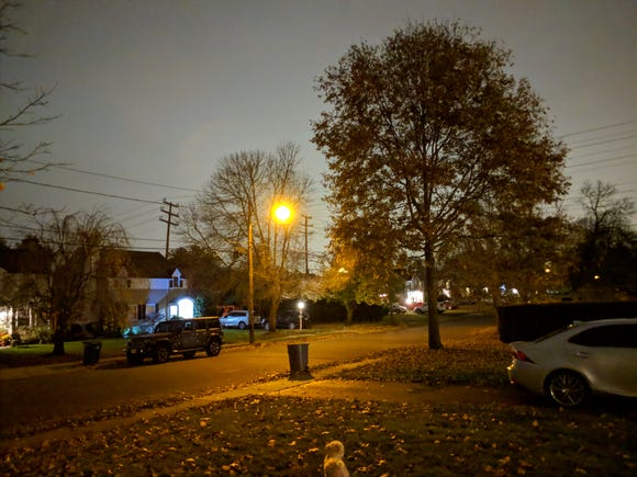 This nighttime photo of a suburban New Jersey neighborhood was taken without a flash on a Google Pixel using the Night Sight feature.