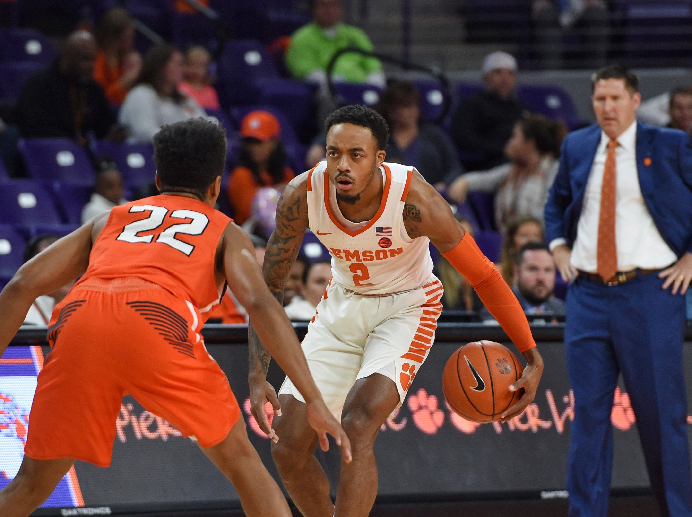 Clemson's Marcquise Reed (2) works against Sam Houston State's Marcus Harris Wednesday night in Clemson.