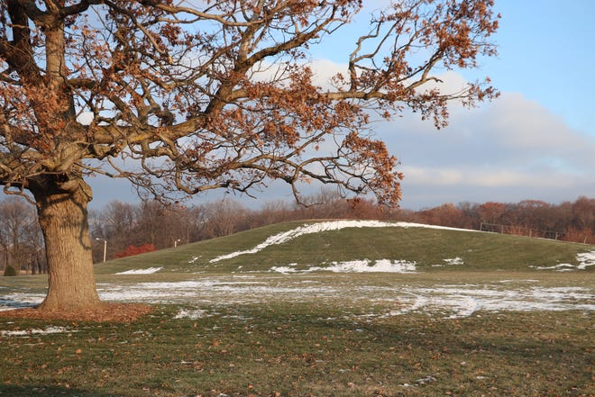The sled hill at Memorial Park in Neenah is made of clay and stones excavated for residential streets.