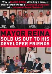 Campaign literature attacking Jackson Mayor Michael Reina