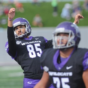 ACU kicker Oscar Hernandez, left, watches his PAT kick go through the uprights during the Wildcat's game against Northwestern State. Hernandez kicked five PATs and a pair of 23-yard field goals in ACU's 49-47 victory over the Demons on Saturday, Nov. 3, 2018, at Wildcat Stadium.