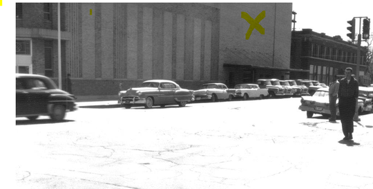 A 1959 photo of the Abilene Reporter-News building, marked in yellow. The Reporter-News moved to the building in 1921, with multiple expansions to the building over the years.