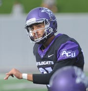 ACU kicker Oscar Hernandez watches as  he converts a PAT kick in the second quarter against Northwestern State. Hernandez kicked five PATs and a pair of 23-yard field goals in ACU's 49-47 victory over the Demons on Saturday, Nov. 3, 2018, at Wildcat Stadium.