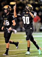 Abilene High kicker Oscar Hernandez (80) celebrates after kicking a 39-yard field goal during the fourth quarter of the Eagles' 38-17 win in the Action Zone Champions Classic on Friday, Aug. 29, 2014, at Shotwell Stadium.