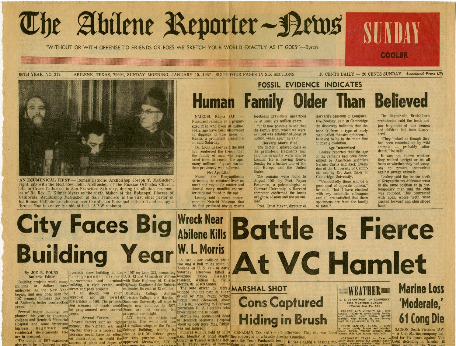 Historical front page of the Abilene Reporter-News.