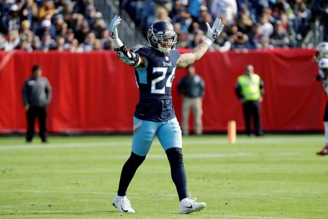 Tennessee Titans strong safety Kenny Vaccaro (24) celebrates after a play against the New England Patriots in the first half on Sunday, Nov. 11, 2018, in Nashville, Tenn.
