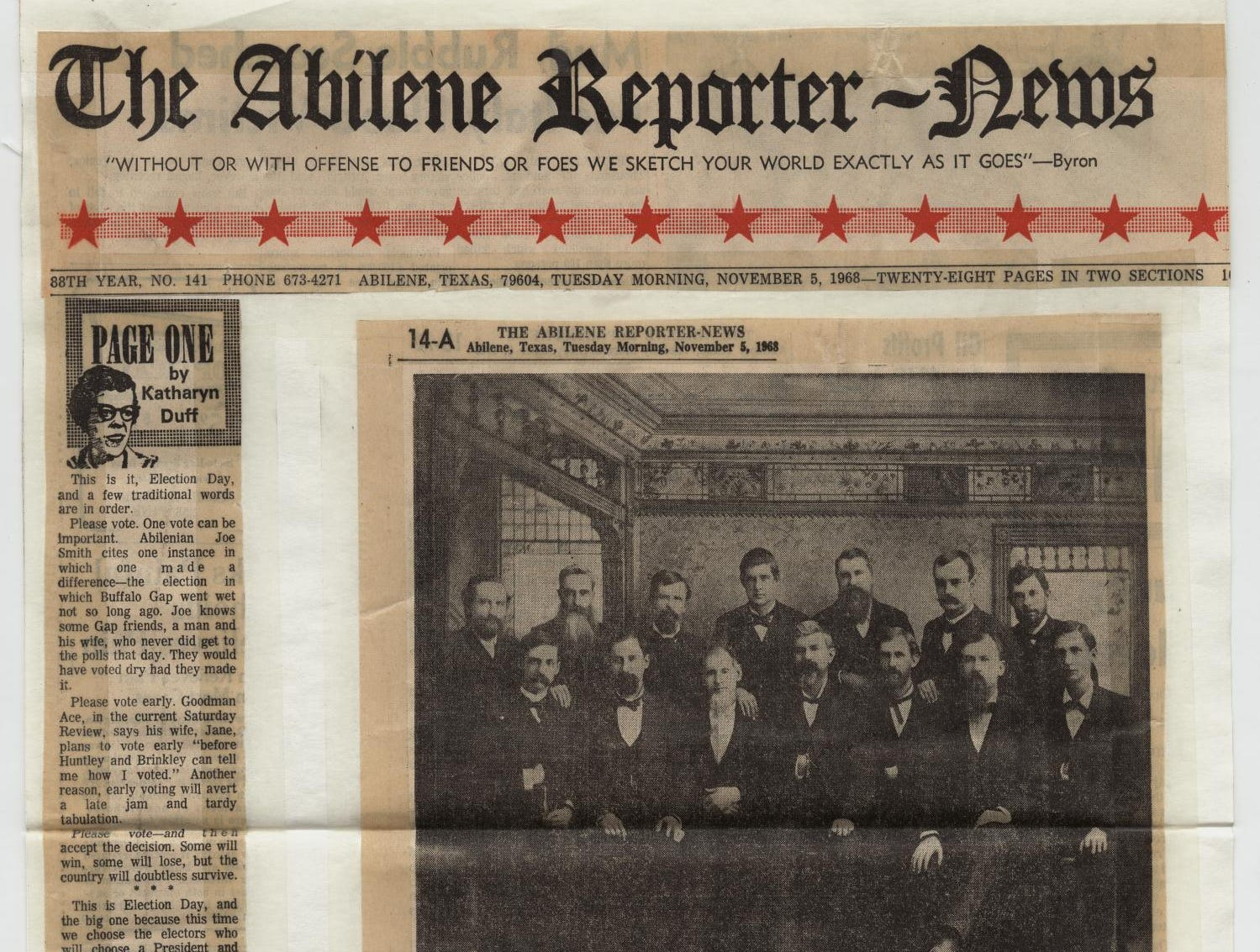 Various clippings from the Abilene Reporter-News, Nov. 5, 1963, including a Page One column by Katharyn Duff and a photo of the first Electors from the area, who in 1884 cast Texas' first 13 electoral votes for Grover Cleveland, including K.K. Legett of Abilene.
