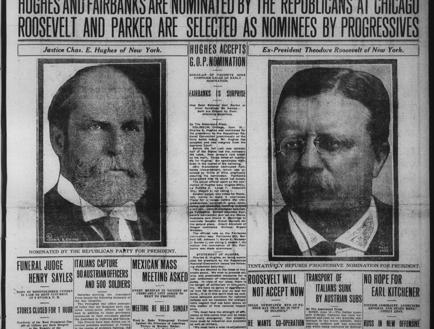 Historical front page of the Reporter-News.