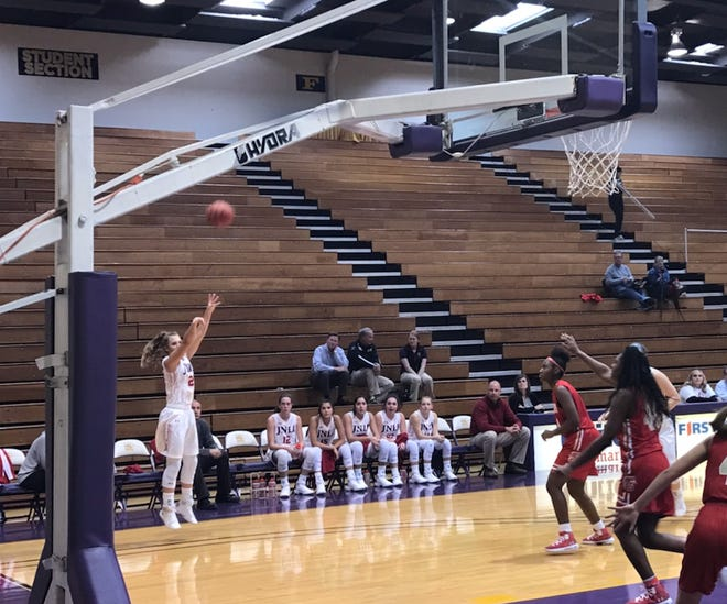 Jim Ned's Claire Graham shoots a corner three during the second half of the Lady Indians 52-26 win over Lubbock Coronado on Thursday, Nov. 15, 2018.