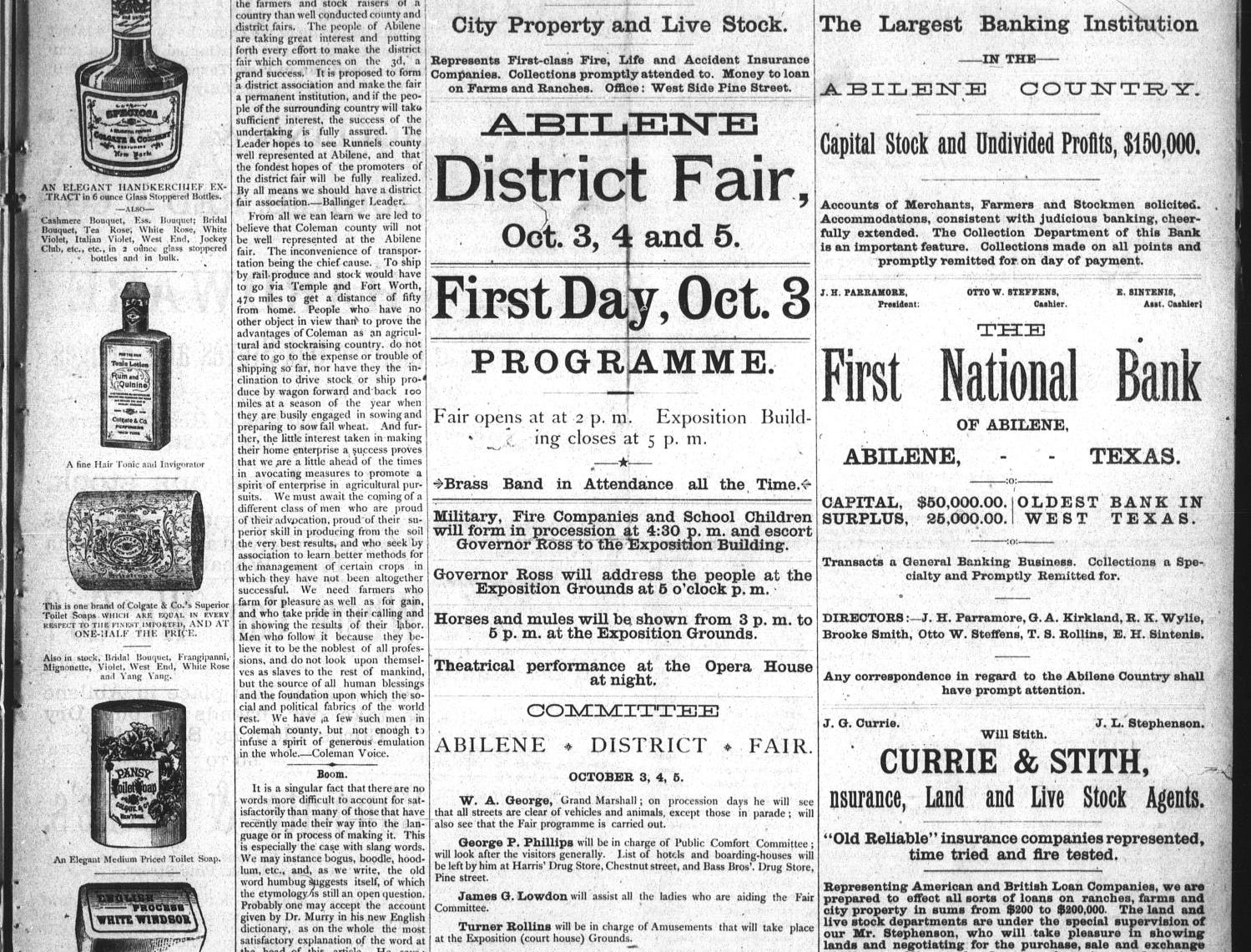 The Abilene Reporter, historical front page,