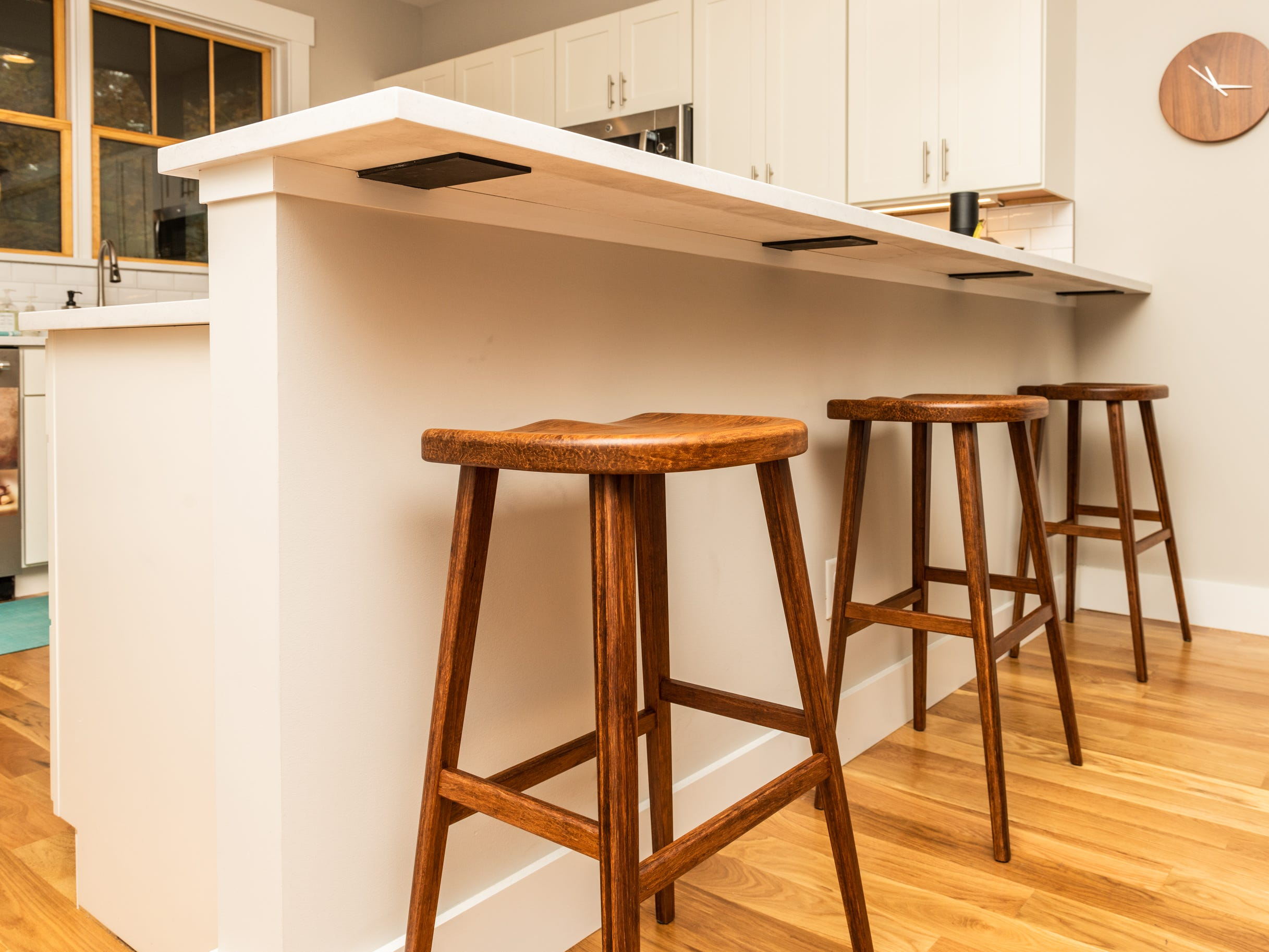 Bar stools in the kitchen at the home of Pat and Ron Hart in Asheville's Montford neighborhood.