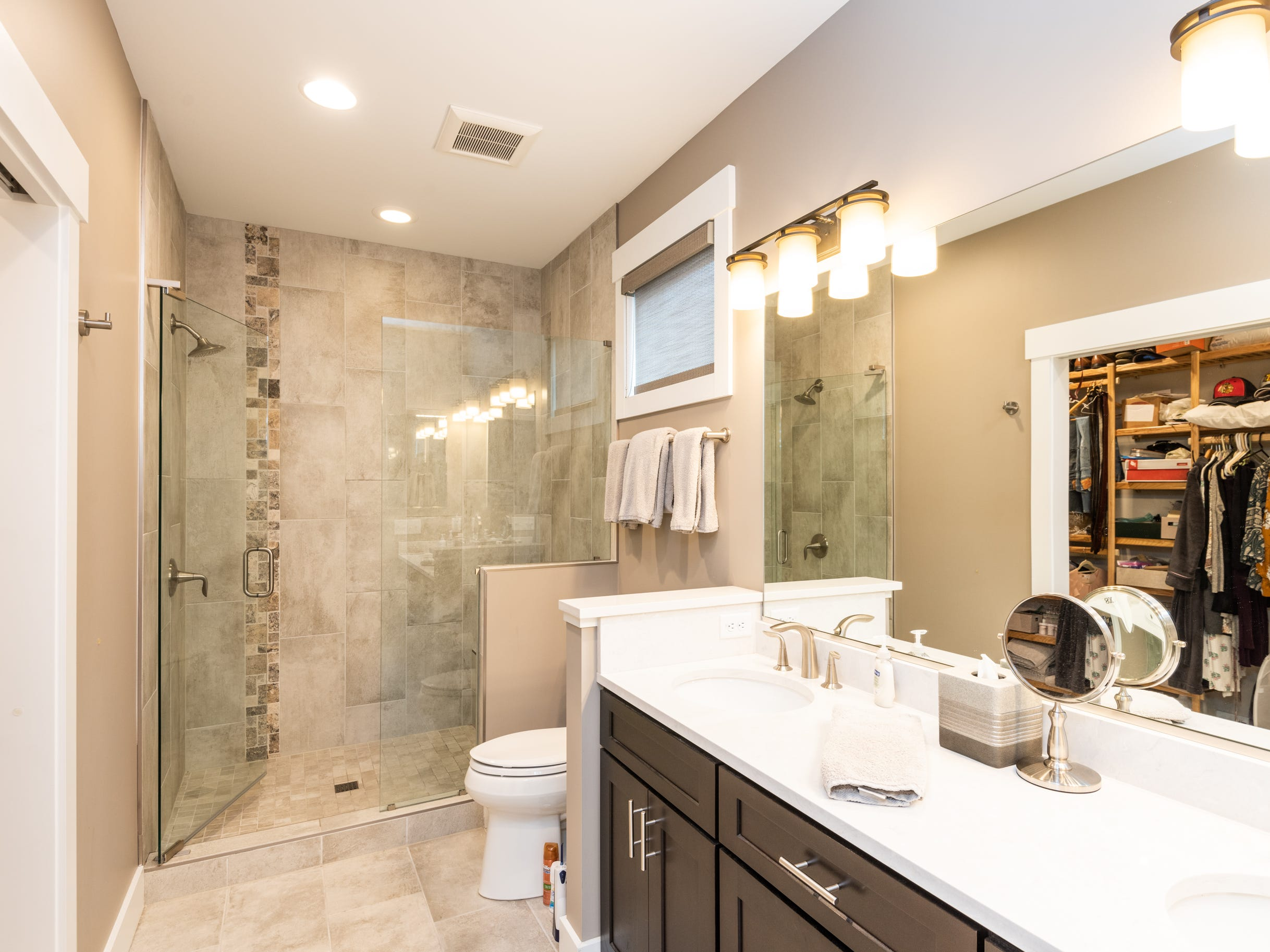 Master bathroom at the home of Pat and Ron Hart in Asheville's Montford neighborhood.