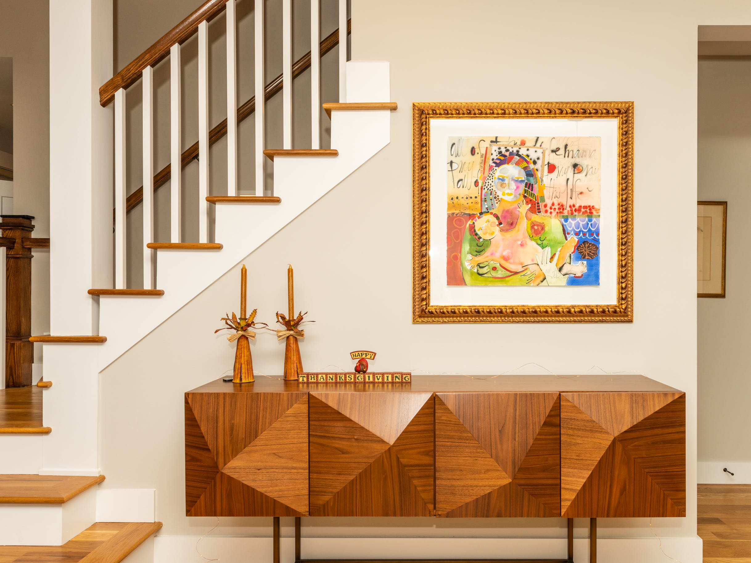Artwork in the dining area at the home of Pat and Ron Hart in Asheville's Montford neighborhood.