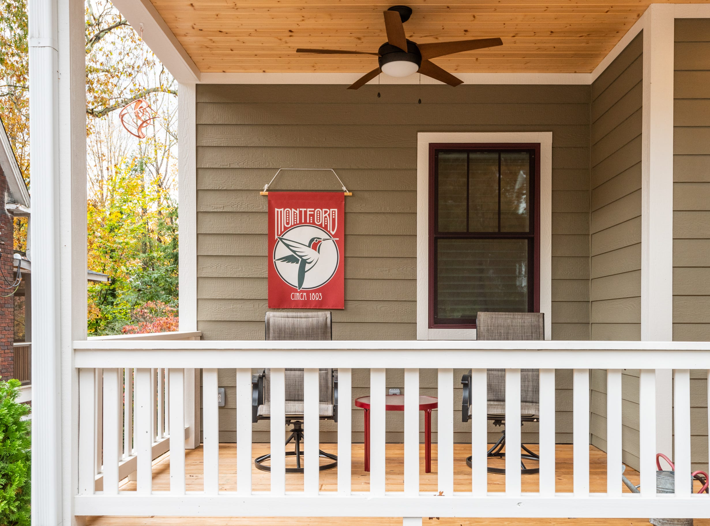 Side porch of front of the home of Pat and Ron Hart in Asheville's Montford neighborhood.