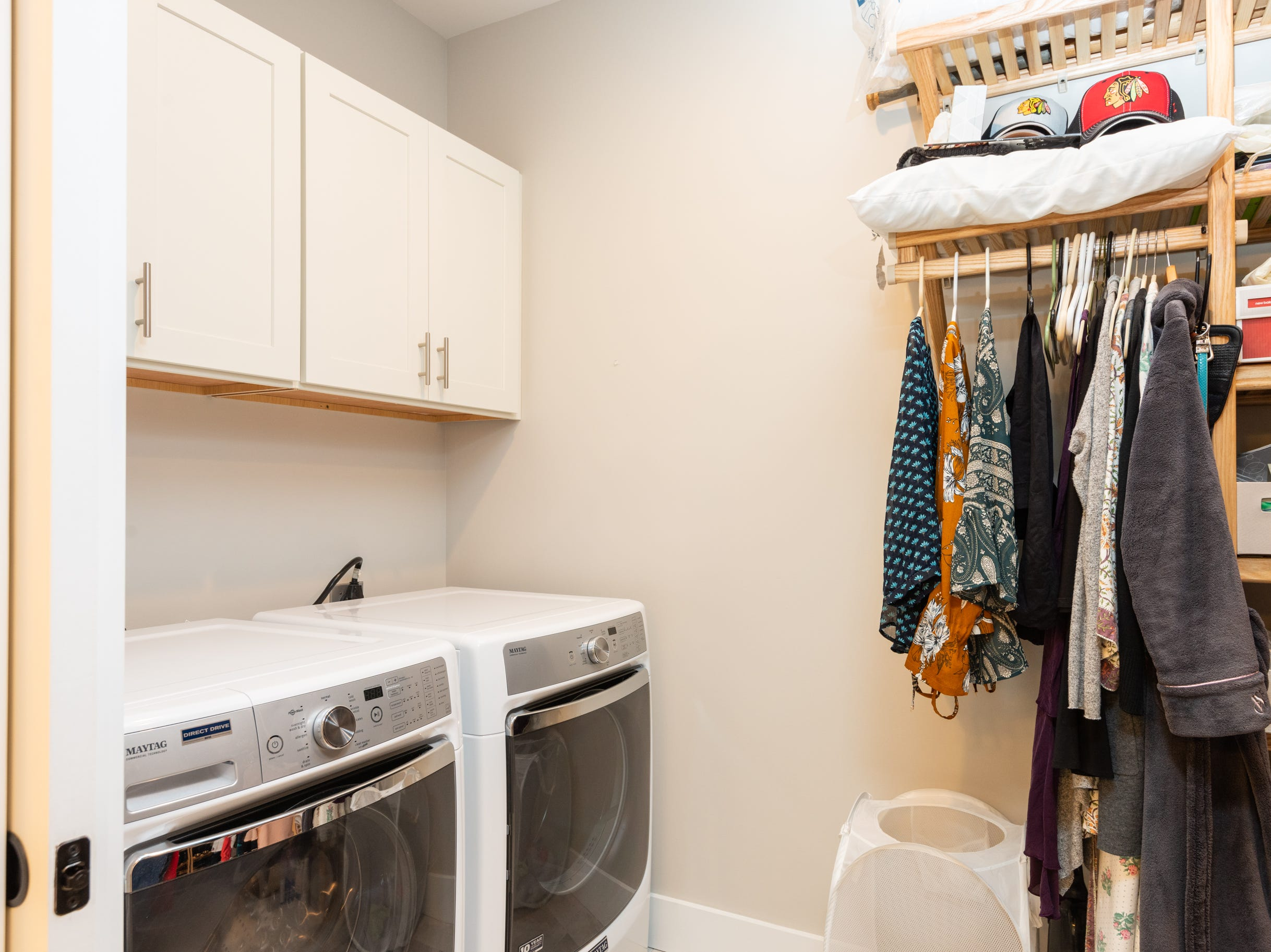 Laundry room in the master bedroom closet at the home of Pat and Ron Hart in Asheville's Montford neighborhood.