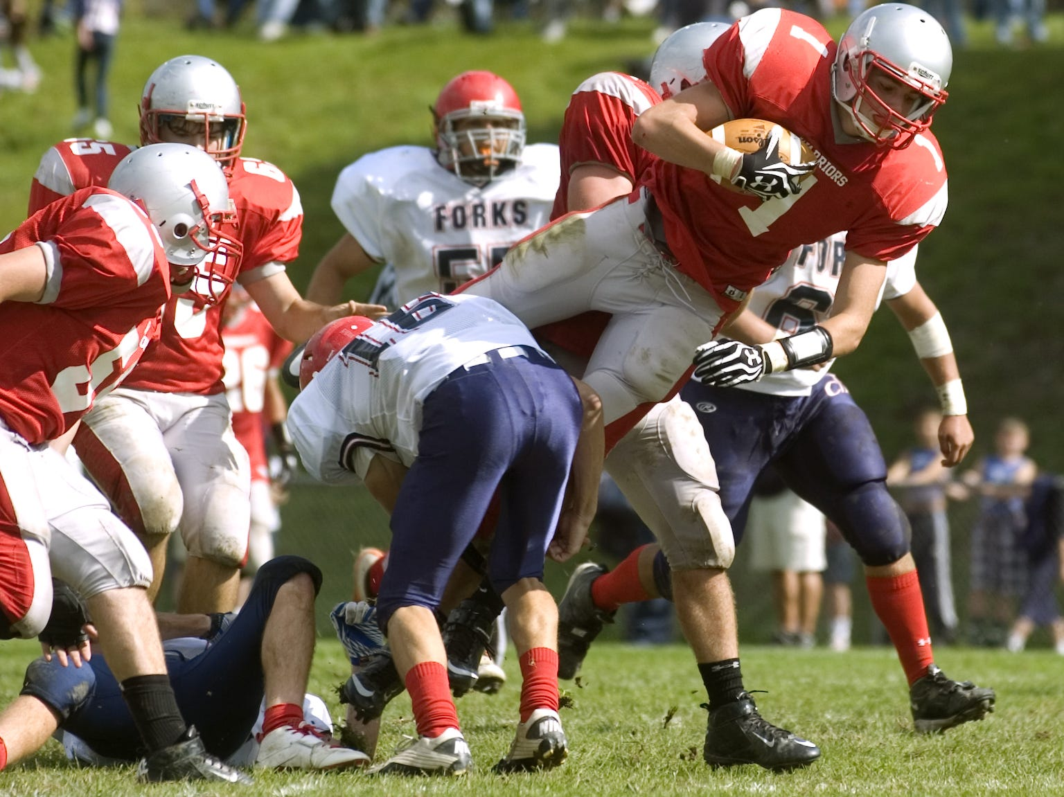 From 2012: Chenango Forks' Jack Sherwood tackles Chenango Valley's Zach Collins in the first half Saturday.