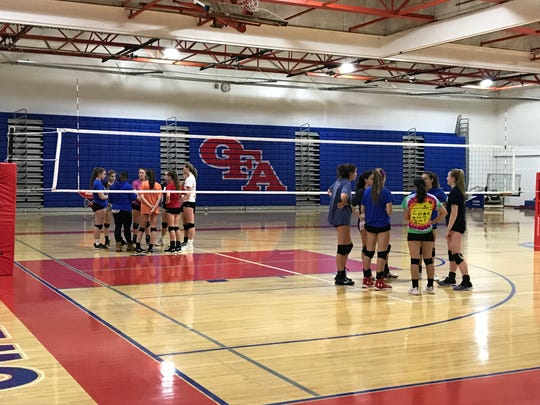 Owego players huddle during Wednesday night's practice in preparation for this weekend's final four at Glens Falls.