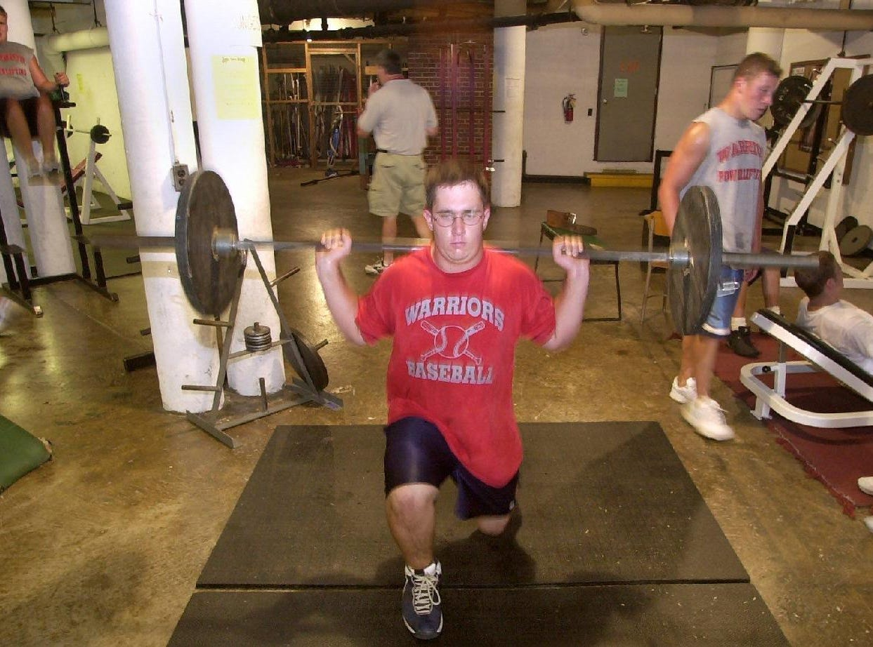 From 2001: Chenango Valley's MIke Schaffer does lunges at one of the ten stations.