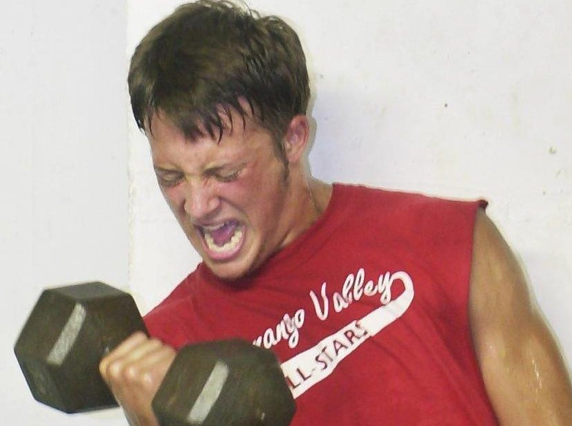 From 2001: Chenango Valley's Nate Andrus does curls at one of the ten stations.
