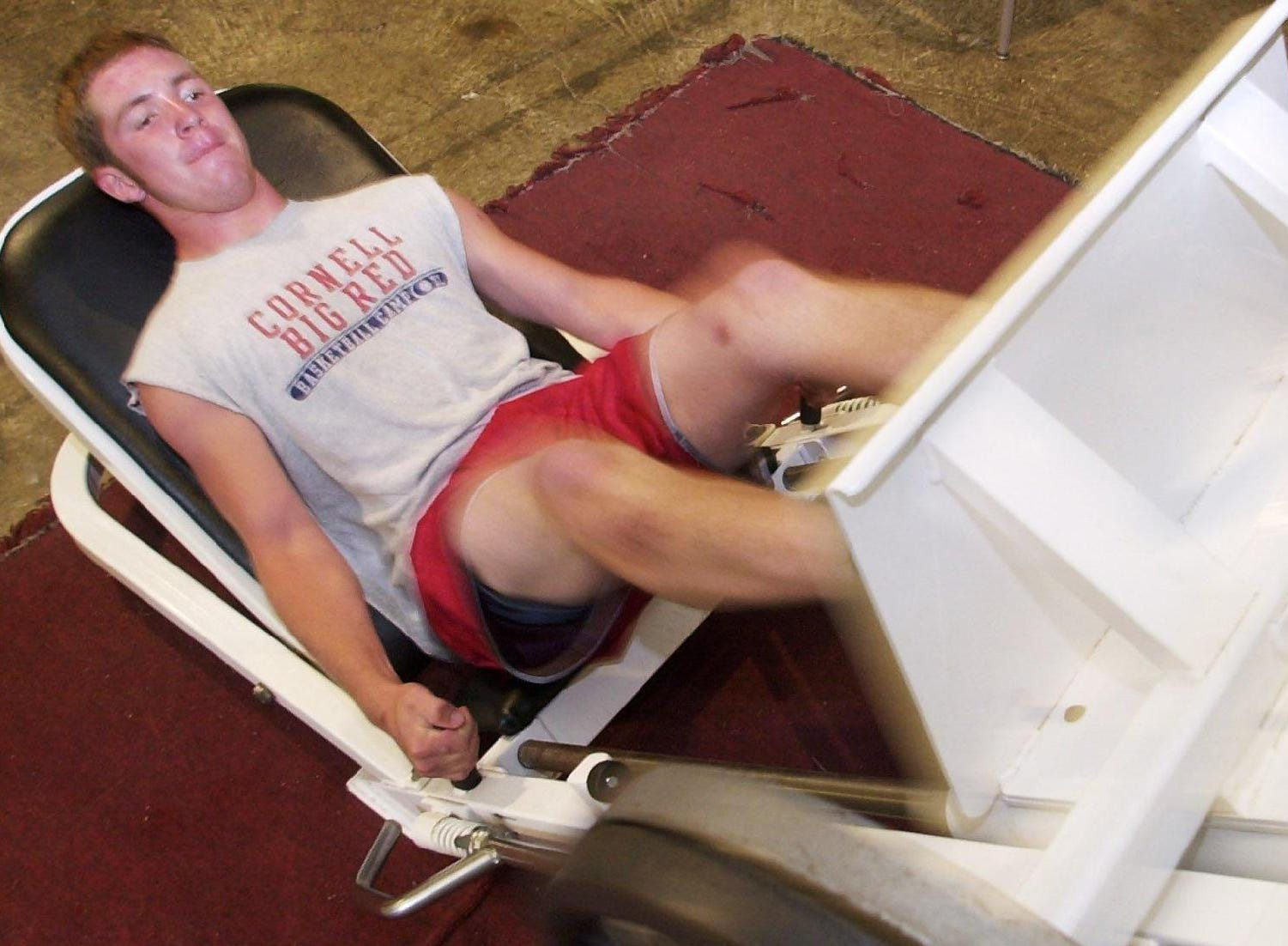 From 2001: Chenango Valley's Mike Clark works out at the leg press at one of the ten stations.