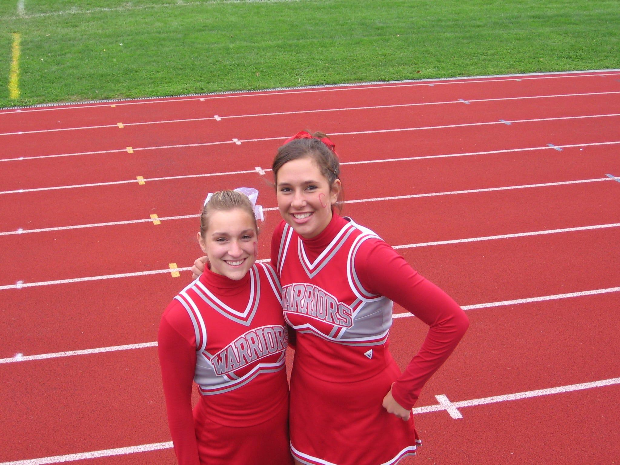 Chenango Valley cheerleaders Sarah Laymans and Sarah Konop.