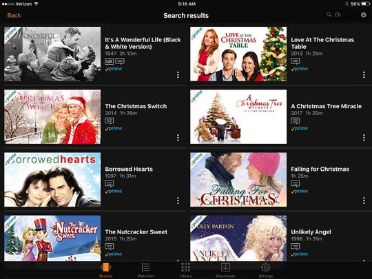 A sampling of Christmas-themed titles on Amazon Prime