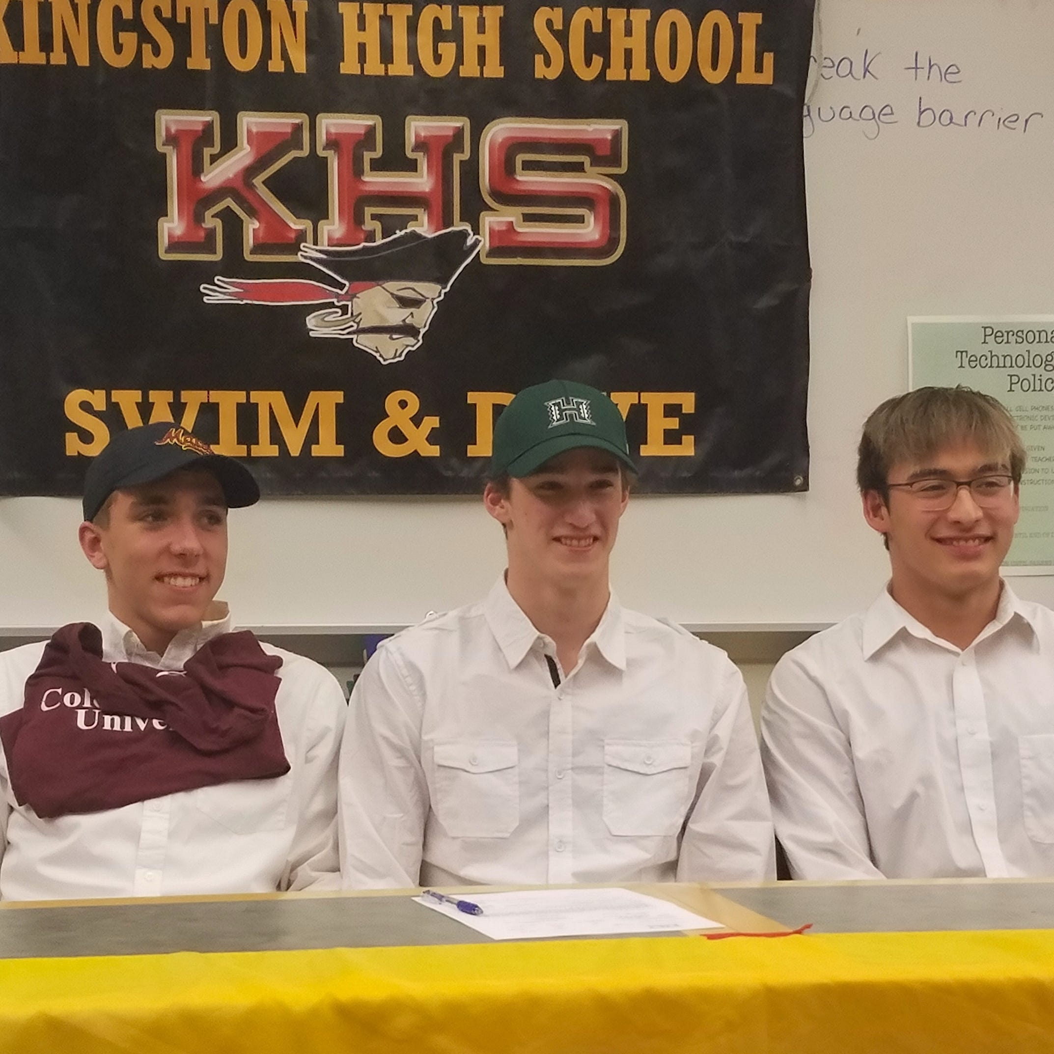 Kingston swimming trio sign letters of intent