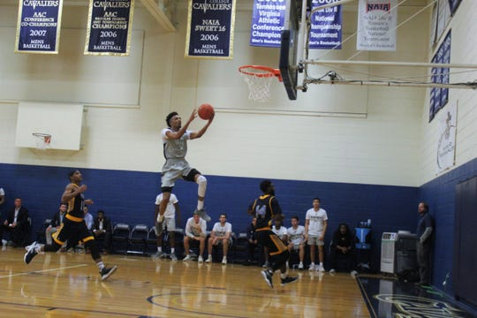 Montreat College senior Jeron Hemphill soars to the rim in a 99-82 win at home on Nov. 14 over Appalachian Athletic Conference opponent Point University.