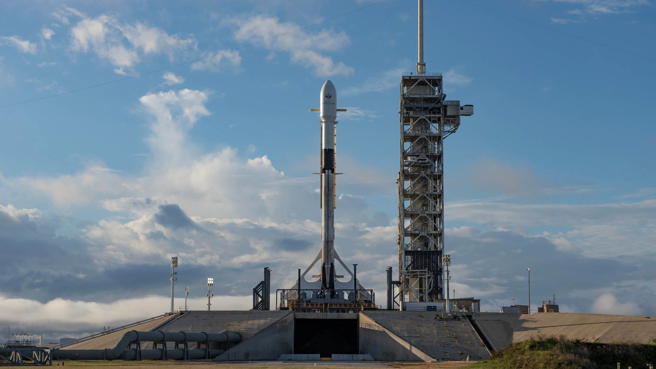 A SpaceX Falcon 9 rocket sits on the pad at Kennedy Space Center's 39A with the Es'hail-2 communications satellite on Thursday, Nov. 15, 2018.