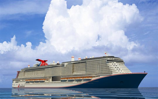 """This artist's rendering shows Carnival Cruise Line's still-unnamed """"XL-class"""" ship that will be based at Port Canaveral starting in 2020. the ship will have a capacity of 5,286 passengers, based on double-occupancy of its cabins, and a maximum capacity of 6,500."""