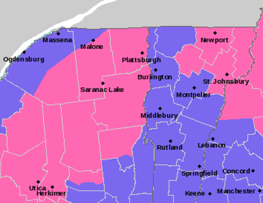 According to this map from National Weather Service on Nov. 15, 2018, the entire state is under winter weather advisories (purple) and winter storm warnings (pink) for the evening of Nov. 15 until mid-to-late afternoon Nov. 16.