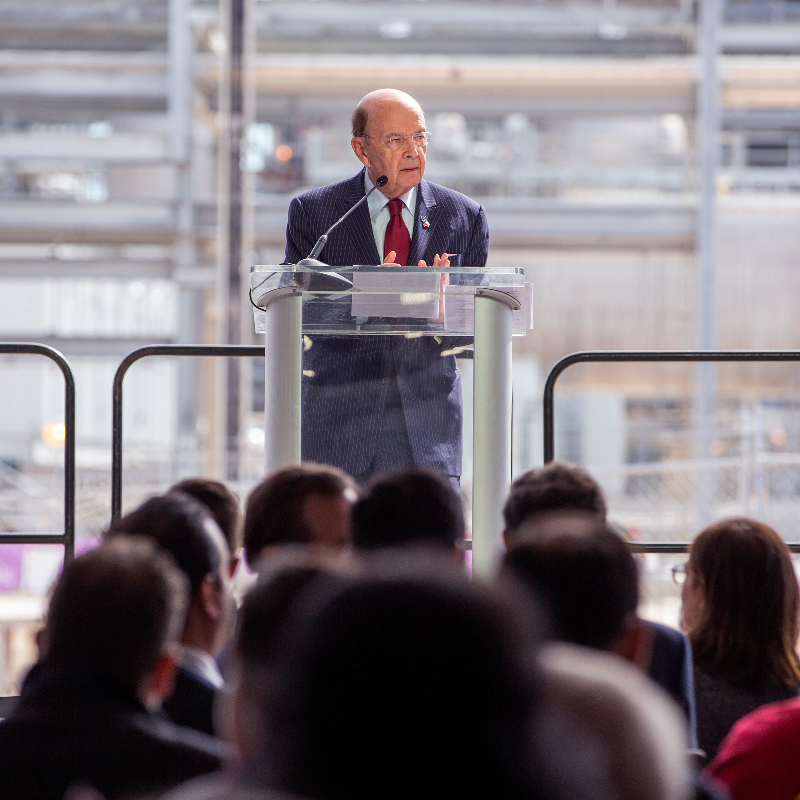 United States Secretary of Energy Wilbur Ross speaks during the  opening celebration for the Corpus Christi Liquefaction facility with national, state and local leaders, and commercial partners in recognition of the startup of the first greenfield liquefaction plant built in the lower 48 states on Thursday, November, 15, 2018 in Gregory, TX.