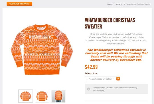 A screenshot of the Whataburger Christmas Sweater on the Whataburger online shop shows the product is sold out.
