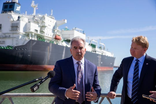 Jack Fusco (left), president and CEO of Cheniere Energy, and Brendan Bechtel, chairman and CEO of Bechtel, speak before an opening celebration for the Corpus Christi Liquefaction facility with national, state and local leaders, and commercial partners in recognition of the startup of the first greenfield liquefaction plant built in the lower 48 states on Thursday, November, 15, 2018 in Gregory, TX.