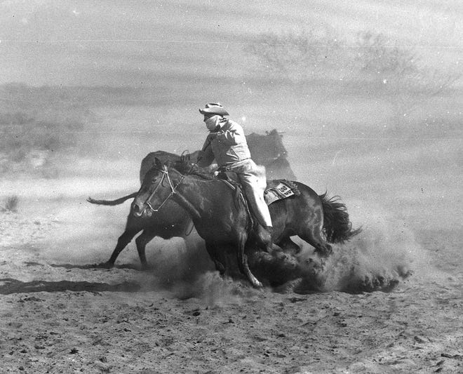 A cowboy on King Ranch circa 1950s. Photo by Red Moores, Caller-Times staff photographer.