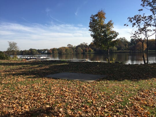 A planned wedding pavilion will replace this concrete slab in Cooper River Park, Pennsauken.