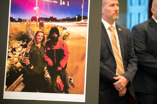 An image of Katelyn McClure, left, and Johnny Bobbitt Jr.  on display during a press conference Thursday, Nov. 15, 2018 in Mount Holly, N.J.