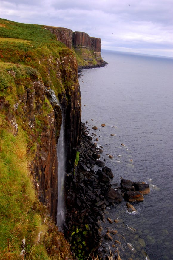 The Lealt Falls tumbles from a sheer cliff on Isle of Skye's eastern coast.