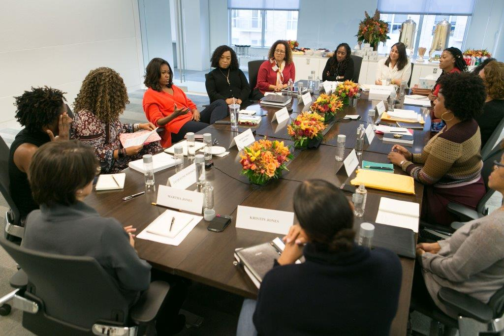 "Former First Lady Michelle Obama holds a ""book talk"" with a group of women from business, industry, law, media and entertainment prior to the launch of ""Becoming."""