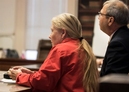 "Fredericka Wagner intensely listens as the prosecution discusses her being a possible flight risk to Pike County Common Pleas Judge Randy Deering Thursday afternoon in Waverly, Ohio. Wagner along with Rita Newcomb, 65, of South Webster,  are accused of perjury and obstructing justice for allegedly misleading investigators; Newcomb also is charged with forging custody documents to cover up the crimes. The women are mothers of Angela Wagner and George ""Billy"" Wagner and grandmothers of the Wagners' two sons, George Wagner IV and Edward ""Jake"" Wagner, who are facing murder charges.  The killings took place in 2016  at different scenes, all around the same time with 32 bullets fired into the eight victims. It would spawn the largest homicide investigation in Ohio history."