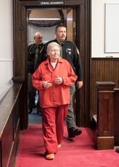 Fredericka Wagner, 76, of Lucasville, enters a Pike County Courtroom for her arraignment in 2018.