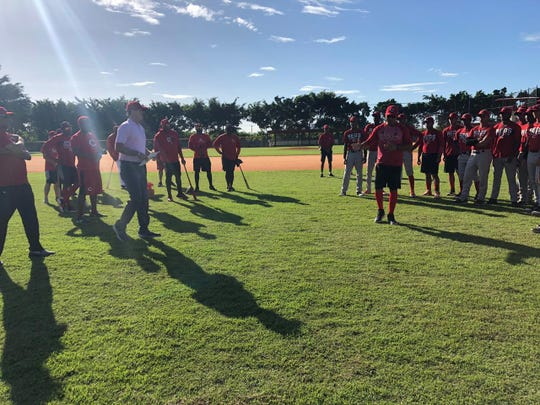 Cincinnati Reds president of baseball operations Dick Williams meets with minor leaguers at the team's complex in the Dominican Republic.