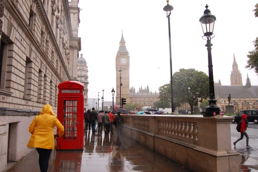 The London streets were soaking on my day trip to the city.