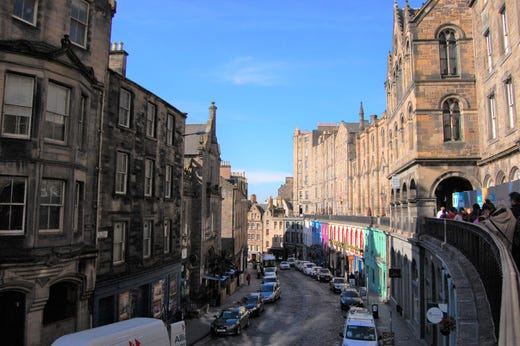 Victoria Street in Edinburgh is said to be the inspiration for Diagon Alley in the Harry Potter series