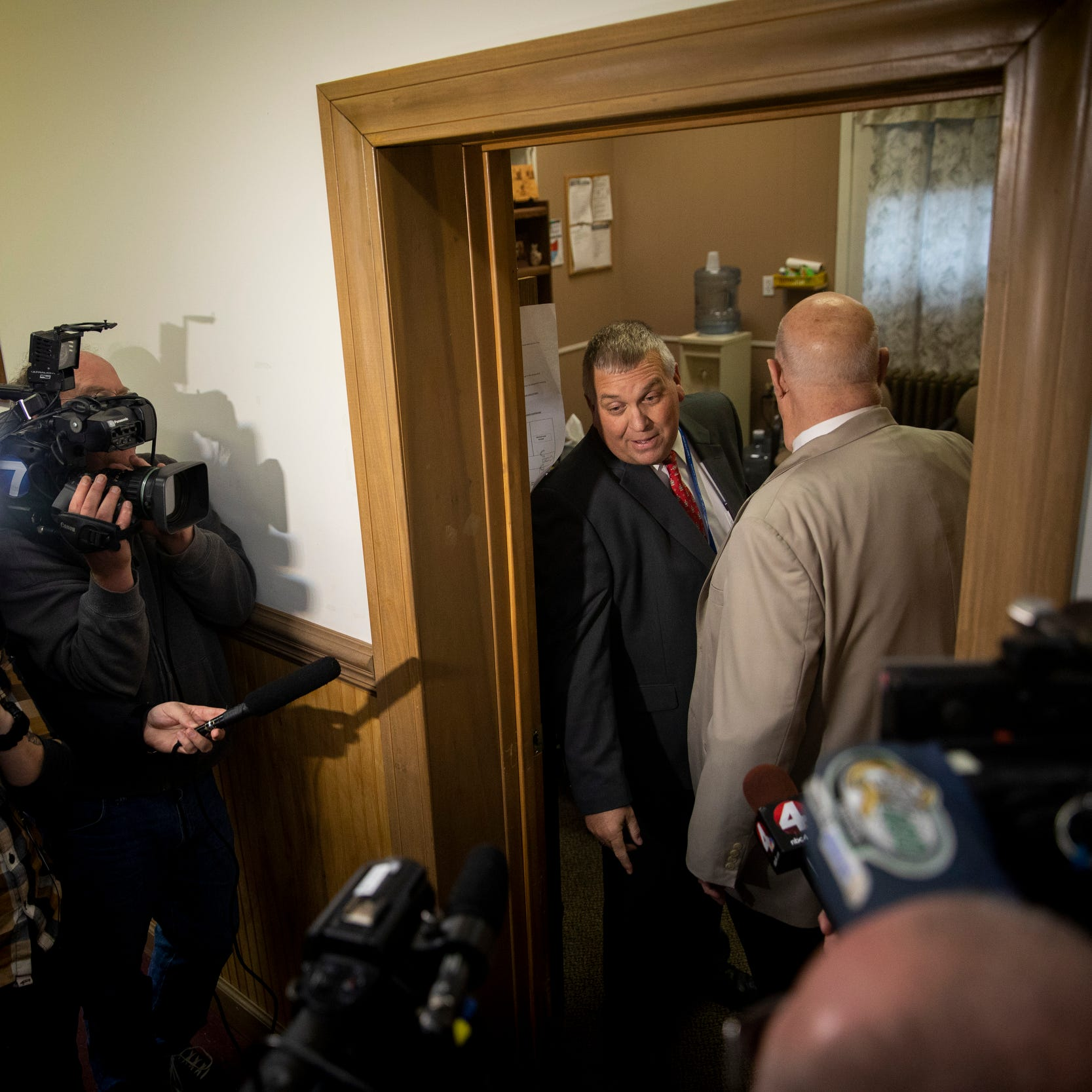 """Pike County Prosecutor Rob Junk declines to make a comment to the media after the arraignment of Fredericka Wagner and Rita Newcomb at the Pike County Courthouse Thursday, November 15, 2018 in Waverly, Ohio. Fredericka Wagner, 76 of Lucasville, and Rita Newcomb, 65, of South Webster, are accused of perjury and obstructing justice for allegedly misleading investigators.  Newcomb also is charged with forging custody documents to cover up the crimes. The women are mothers of Angela Wagner and George """"Billy"""" Wagner and grandmothers of the Wagners' two sons, George Wagner IV and Edward """"Jake"""" Wagner, who are facing murder charges in the deaths of the Rhoden family and Hannah Gilley.  The eight homicides took place in April 2016 at four different homes, all around the same time. It would spawn the largest homicide investigation in Ohio history."""